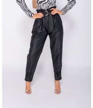 PARISIAN PU Paperbag Waist Pleated him Tapered Trousers - Women - Black