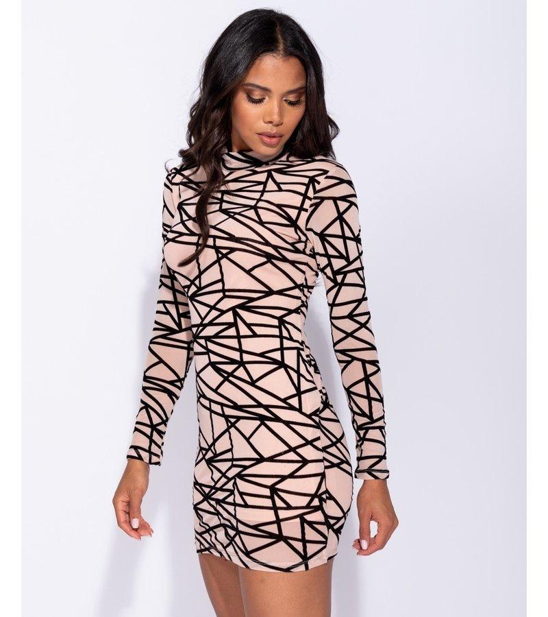 PARISIAN Abstract Print Long Sleeved Mesh Bodycon Dress - Women - Pink