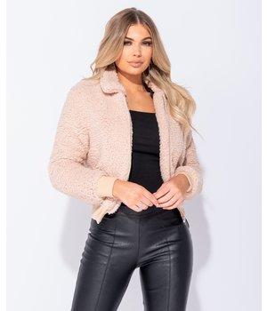 PARISIAN Deposit Fur Zip Front Bomber Jacket - Women -Pink