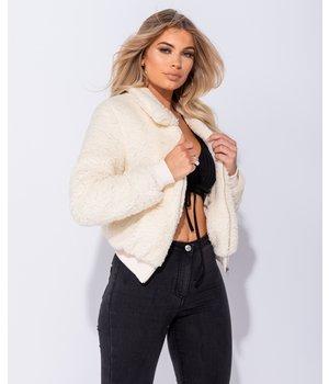 PARISIAN Deposit Fur Zip Front Bomber Jacket - Women - Beige