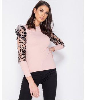 PARISIAN Flock Print Sheer Organza High Neck Sleeveless Top - Women - Pink