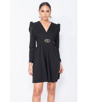 PARISIAN Puffed Sleeve Wrap Front Mini Dress - Women - Black
