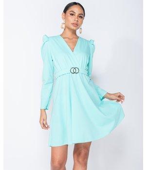 PARISIAN Puffed Sleeve Wrap Front Buckle Detail Mini Dress - Women - Green