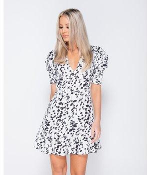 PARISIAN Printed Puff Sleeve Frill Hem V Neck Mini Dress - Women - White