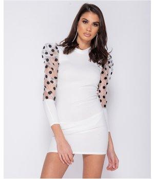 PARISIAN Sheer Polka Dot Organza Sleeve Bodycon Mini Dress - Women - White