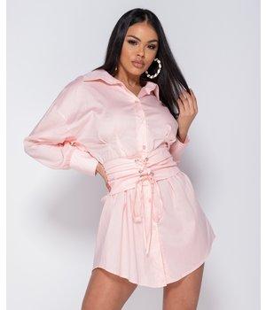 PARISIAN Long Sleeve Shirt Dress With Belt - Women - Pink