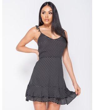 PARISIAN Polka Dot Tiered Hem Mini Strappy Dress - Women -Black