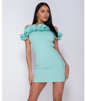 PARISIAN Ruffle Detail Bardot Bodycon Mini Dress - Women - Green