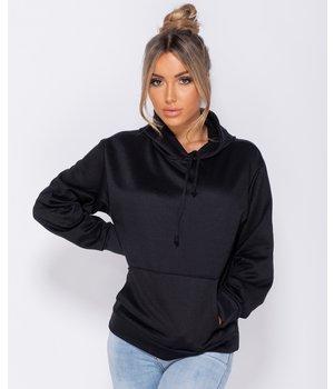 PARISIAN Oversized Drawstring Hooded Sweatshirt - Women - Black