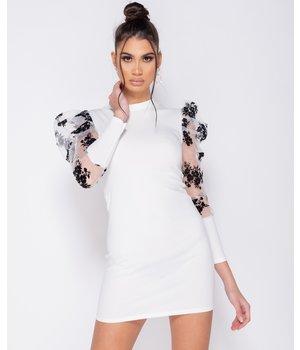 PARISIAN Sheer Floral Print - Bodycon Mini Dress - Women - White