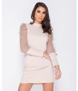 PARISIAN Polka Dot Sheer Puffed - Bodycon Mini Dress - Women - Beige