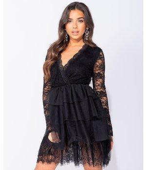 PARISIAN Lace Panel Multi Tier Mesh Mini Dress - Women Clothes - Black