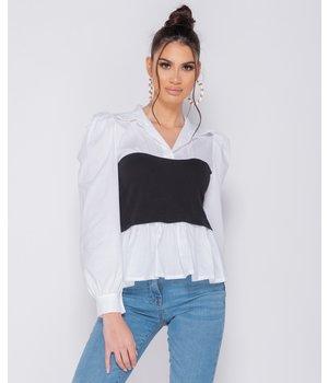 PARISIAN Corset Detail Puffed Blouse - Women - Black / White