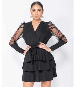 PARISIAN Polka Dot Mesh Sleeve Wrap - Women Tiered Detail Mini Dress - Black