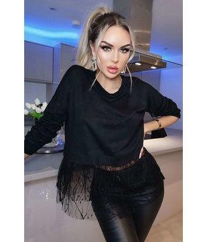 CATWALK Gemma Delicate Tulle Netted Top - Women Shirt - Black