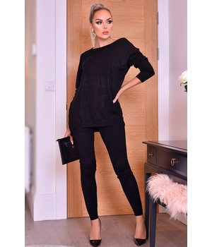 CATWALK Pixie Gray Two Piece Loungewear Set - Ladies - Black