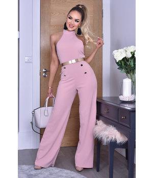CATWALK Katrina Button Halter Jumpsuit - Women Clothing - Pink