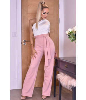 CATWALK Dior One Shoulder Ruched Jumpsuit - Ladies Fashion - Pink