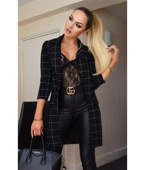 CATWALK Diana Checked Longline Jacket - Women Fashion - Black