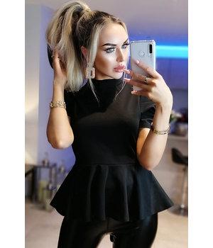 CATWALK Shelly Puffed Sleeve Peplum Top - Shirt Women  - Black