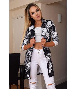 CATWALK Audrey Floral Longline Jacket - Women Style - Black