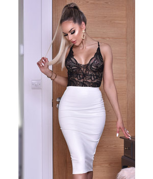CATWALK Kellie PU Midi Skirt - Women Fashion - White