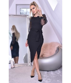 CATWALK Grace Organza Mesh Sleeve Wrap Dress - Clothes Women - Black