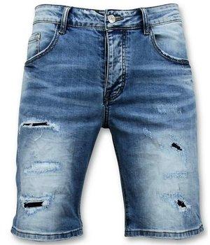 Enos Men Short Pants - Ripped Jeans Short - 9086 - Blue