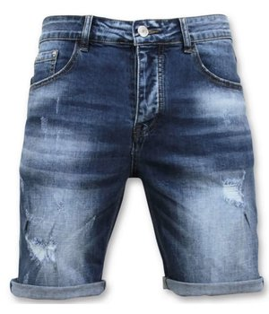 Enos Denim Shorts Ripped For Men - 9085 - Blue
