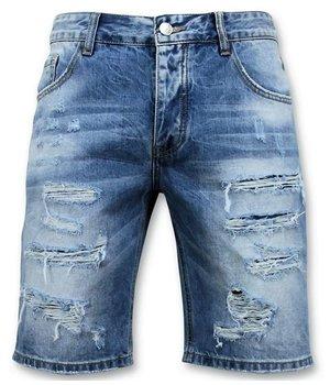 Enos Ripped Denim Shorts For Men - 9073 - Blue