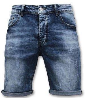 Enos Plain Denim Shorts  - 9088 - Blue