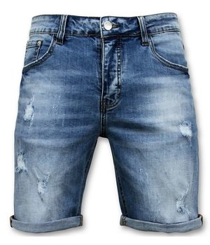 Enos Ripped Denim Shorts - 9078 - Blue