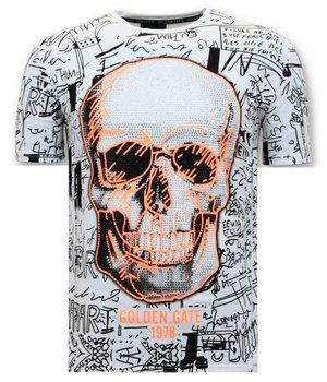 Enos Men T Shirt Skull Rhinestones - F-7356-Z - White