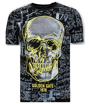 Enos Men T-shirt Skull  Rhinestones - 7356 - Black