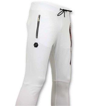 Enos Joggers Men with Print - Skull  Sweatpants - White