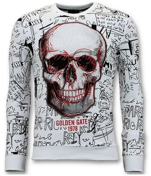 Enos Skull Printed Sweatshirt Men - White