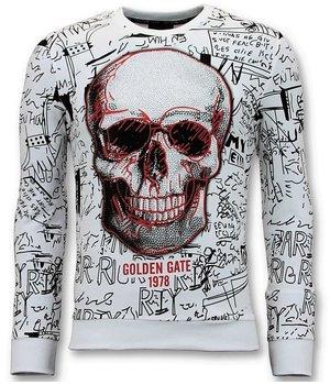 Enos Sweater Men's Print - Skull Crew Neck - White