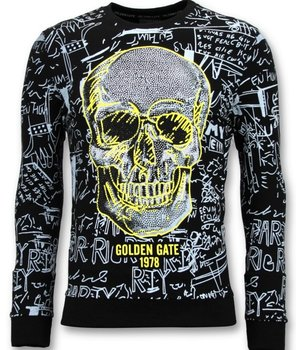 Enos Men's Print Sweater - Skull Crew Neck - Black
