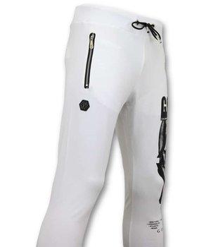 Enos Slim Fit Sweat Pants Men - Sweatpants Skull - White
