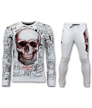 Enos Men jogging suit with Print - Neon Skull - White