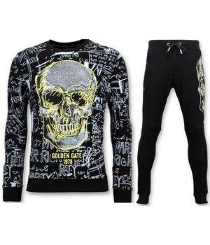 Enos Men jogging suit with Print - Neon Yellow Skull - Black