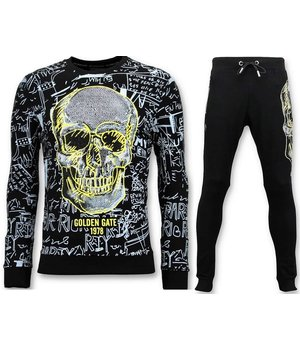 Enos Skull Printed Men Tracksuit - Black