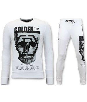 Enos Skull Printed Tracksuit For Men - White