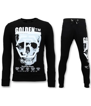 Enos Skull Printed Tracksuit For Men - Black