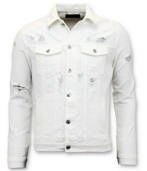 Enos Ripped Denim Jacket For Men  - White