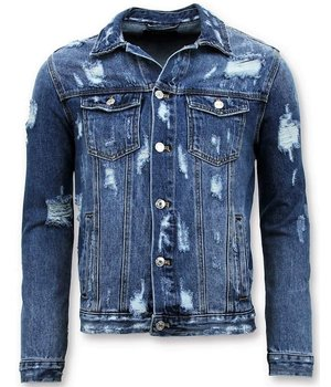 Enos Denim Jacket Men - Ripped Denim - Blue