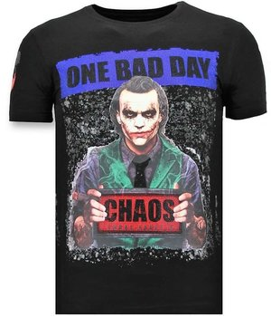 Local Fanatic Printed Joker Man T Shirt  - Black