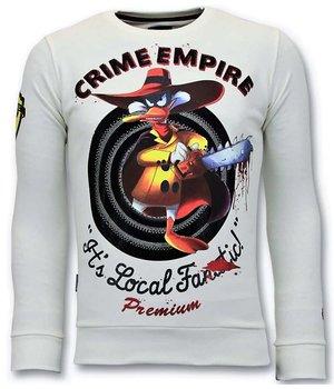 Local Fanatic Luxury Men Sweater - Crime Empire - White