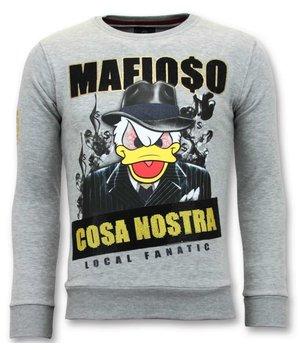 Local Fanatic Exclusive Men Sweater - Cosa Nostra Mafioso - Gray