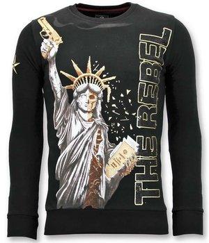 Local Fanatic The Rebel Printed Men Sweatshirt - Black